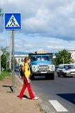 Kid at road Stock Photo