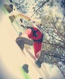 Kid rock climber Royalty Free Stock Image
