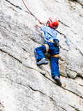 Kid Rock Climbing Royalty Free Stock Photography