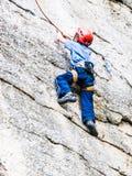 Kid Rock Climbing Royalty Free Stock Photography