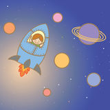 Kid on rocket Stock Images