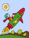 Kid on Rocket Ship. Boy on a rocket ship blasting off Stock Photo