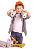 Kid with a roll of wallpaper and brush. isolated Stock Images