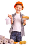 Kid with a roll of wallpaper and brush. isolated Royalty Free Stock Photography