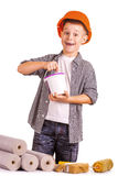 Kid with a roll of wallpaper and brush. isolated Stock Image