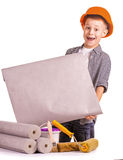Kid with a rolls of wallpaper and brush. isolated Royalty Free Stock Photography