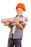 Kid with a rolls of wallpaper and brush. isolated Stock Photos