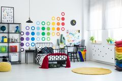 Kid room with dots pattern stock images