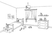 Kid room graphic interior art black white sketch illustration Stock Photography