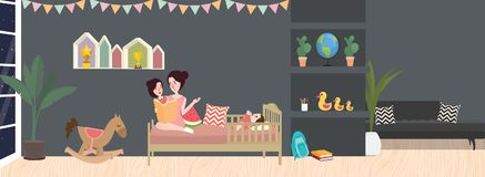 Kid room interior vector illustration in dark color grey with mom and her child Royalty Free Stock Photos
