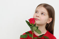 Kid and rose Stock Photos