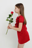 Kid and rose Royalty Free Stock Images