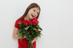 Kid and roses Royalty Free Stock Image
