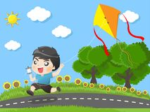 Kid running kites in the garden royalty free illustration