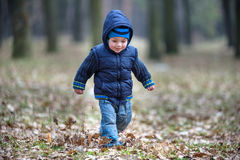 Kid running in the outumn forest. Boy happy  in fallen leaves to his mother Royalty Free Stock Photography