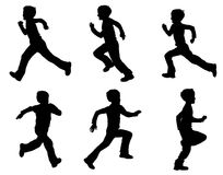 Kid running silhouettes Royalty Free Stock Photography