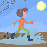 Kid runs through the puddles. At sping day - cute cartoon illustration Stock Photo