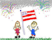 Kid's at American Fireworks. Child's drawing of celebrating American patriotism Royalty Free Stock Images
