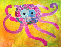 Kid's aquarelle drawing of octopus Royalty Free Stock Photography