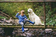 Kid& x27; s avonturen in bos stock afbeelding