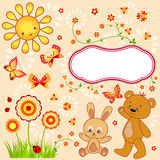 Kid`s background with butterfly. Royalty Free Stock Images