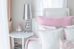 Kid's bedroom in pink color style at home Royalty Free Stock Photos