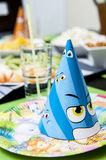 Kid's birthday table setting Royalty Free Stock Images