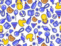 Kid's blue yellow seamless doodle pattern Stock Photography