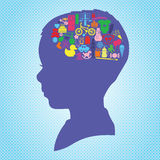 Kid's Brain. All icons about kids in their brain Royalty Free Stock Image