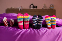 Kid's colorful bright socks. Stock Photos