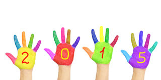 Kid`s colorful hands forming number 2015. Stock Images