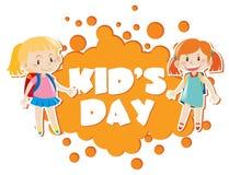Kid& x27; s dagaffiche met twee meisjes op achtergrond vector illustratie