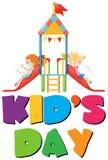 Kid& x27; s dagaffiche met twee meisjes op dia stock illustratie