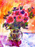 Kid's drawing of a colorful bouquet Royalty Free Stock Photo
