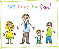 Kid's drawing. Father's day. Royalty Free Stock Photography