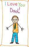 Kid's drawing. Father's day. Stock Photo
