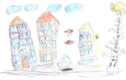 Kid's drawing Royalty Free Stock Image