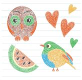 Kid`s drawing. Owl, bird, watermelon and heart. Color pencil. Ha. Nd drawn funny doodle sketch. Vector scribble of the little child stock illustration