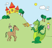 Kid's drawing style dragon scene Royalty Free Stock Photo