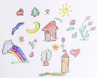 Kid's drawing style elements Stock Photo
