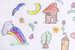Kid's drawing style elements Royalty Free Stock Images