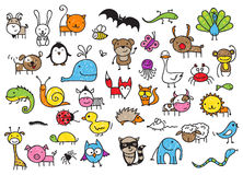 Kid's drawings of animals Royalty Free Stock Photos