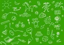 Kid's drawings set Stock Photography