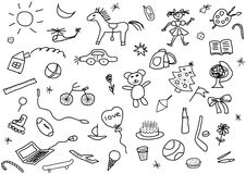 Kid's drawings set. A set of various child's drawings over white Stock Images