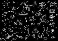 Kid's drawings set Royalty Free Stock Image