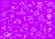 Kid's drawings set Royalty Free Stock Photos
