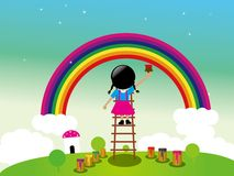 Kid's dream-- painting rainbow on sky Stock Images