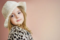 Kid's fashion background.Lovely child girl portrait. Young model Royalty Free Stock Photos