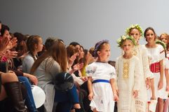 Kid`s fashion day during Belarus Fashion Week on October 29, 2017 in Minsk, Belarus. Stock Image