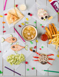 Kid`s food menu set. Of funny meals royalty free stock photo